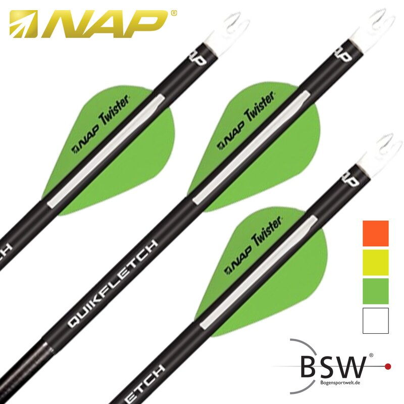 NAP Quikfletch Twister - Black Tube - 2 Vanes - various Colours