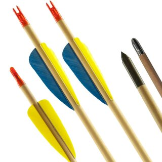Complete Arrow | BSW APACHE - Wooden Arrow with Feathers...