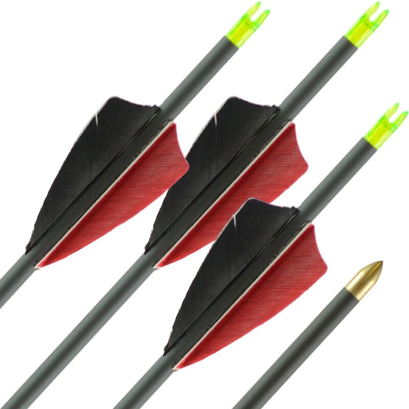 36-40 lbs | Carbon Arrow | LithoSPHERE Black - with feathers | Spine 500 | 32
