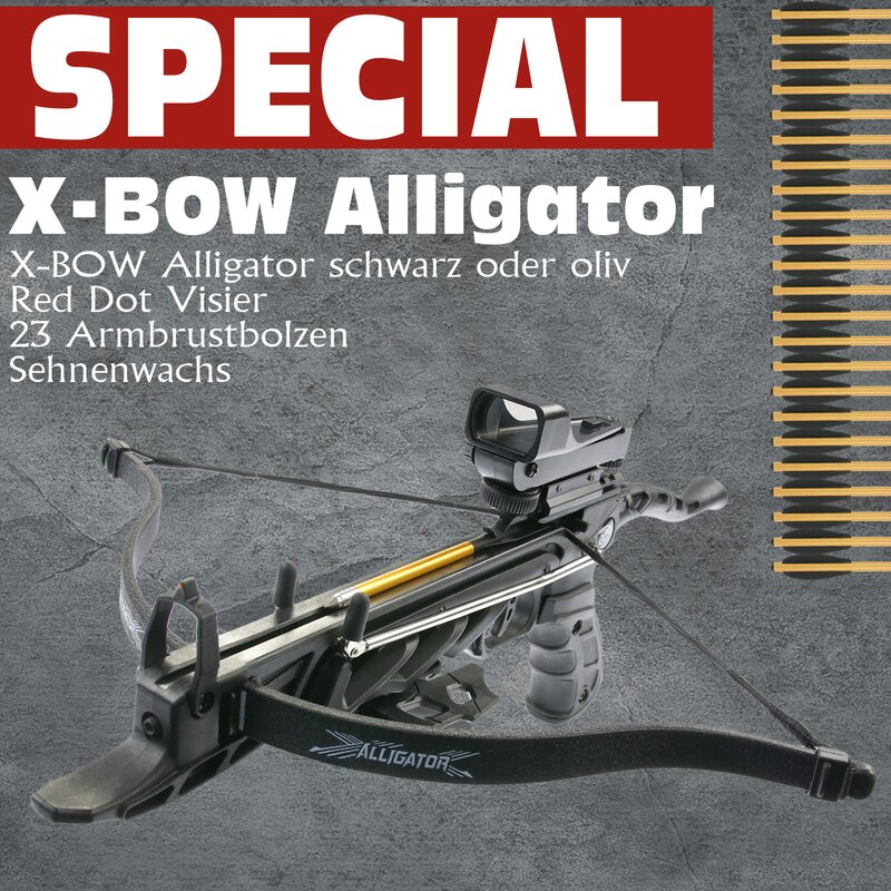 [SPECIAL] X-BOW Alligator - Red Dot Package - 80 lbs - 175 fps - Pistolenarmbrust