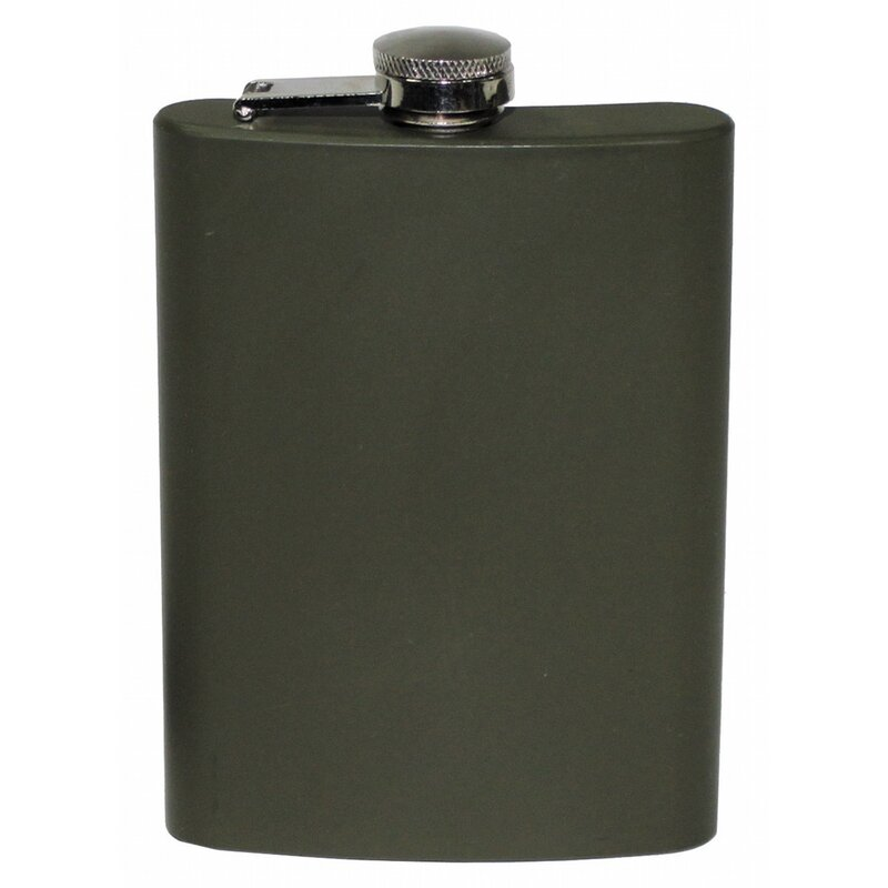 FOXOUTDOOR Hip Flask - Stainless Steel - OD green - 8 OZ - 225 ml