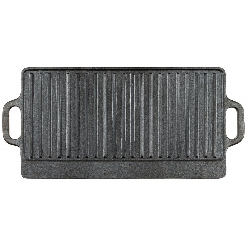 FOXOUTDOOR Griddle - Cast Iron - 2 handles - approx. 50 x 23 x 1,5 cm