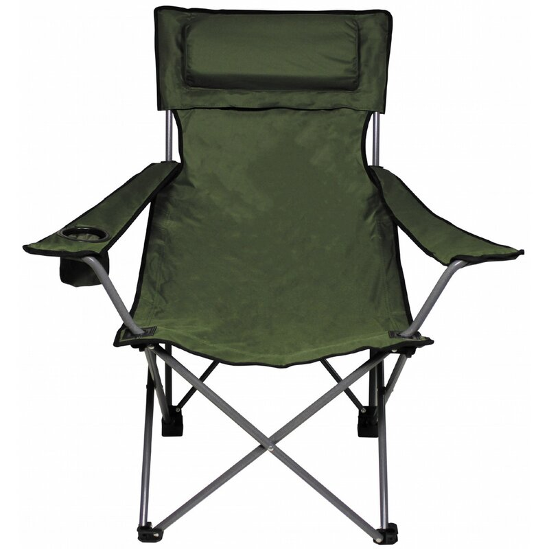 FOXOUTDOOR Folding Chair - Deluxe - OD green - back- and armrest