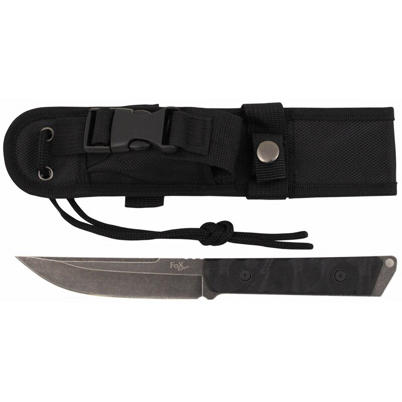 FOXOUTDOOR Knife - Fighter - black - G10 handle - sheath