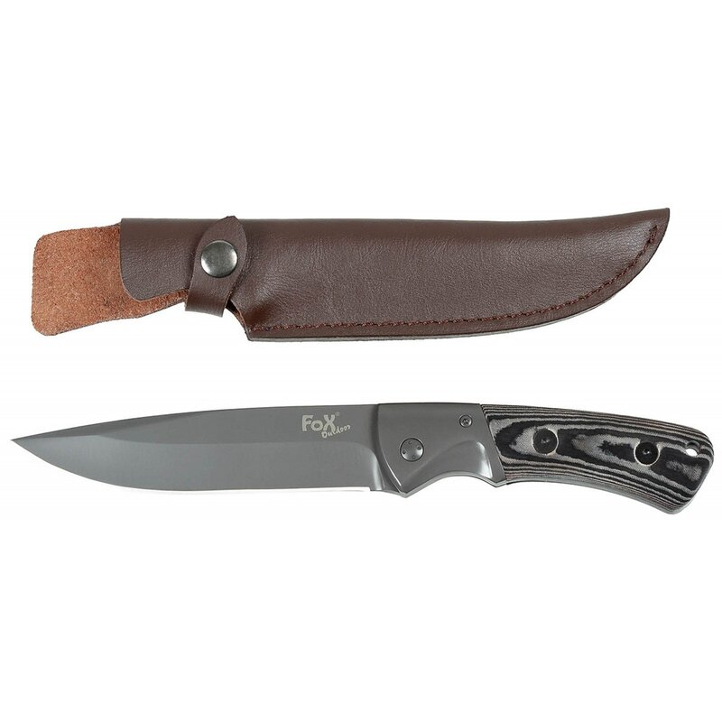 FOXOUTDOOR Knife - Tiger - leather sheath - with Micarta handle