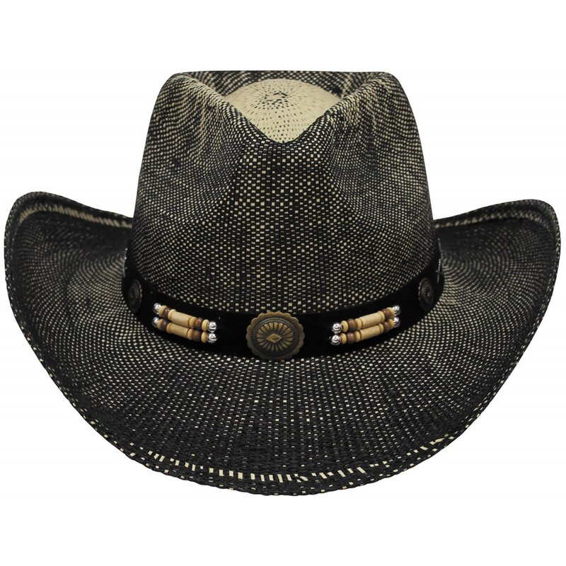 FOXOUTDOOR Straw Hat - Texas with hat band - black-brown