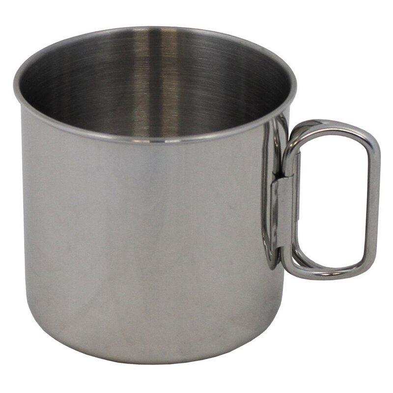 FOXOUTDOOR Cup - Stainless Steel -  foldable handles - approx. 450 ml