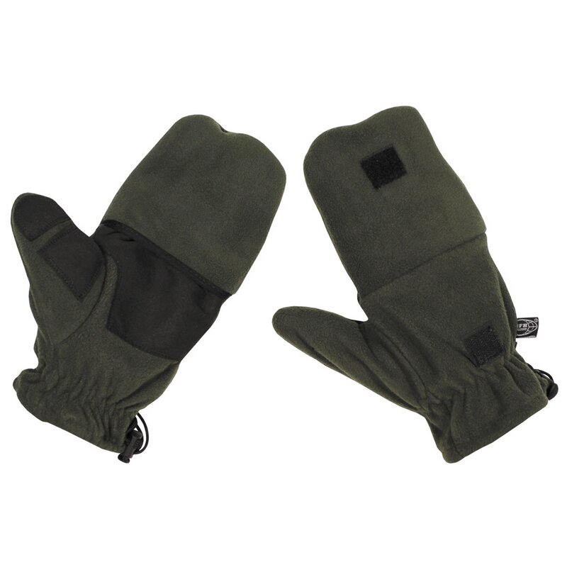 MFH Fleece Gloves - OD green - with pull loops