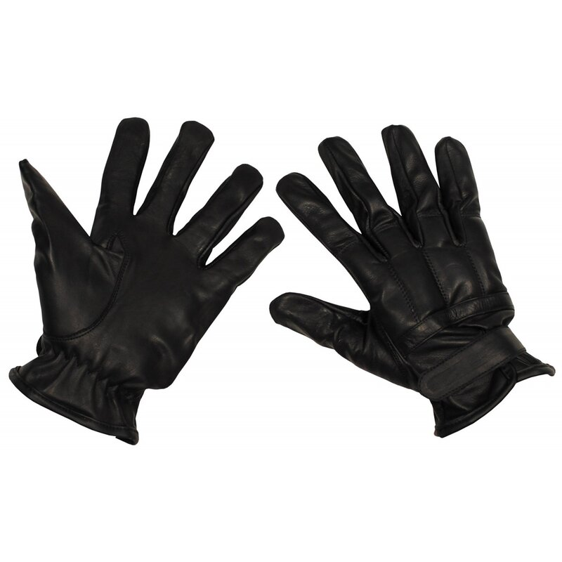 MFH Leather Gloves - black - quartz sand filling