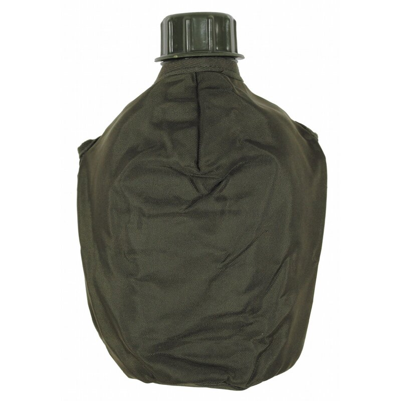 MFH Plastic Canteen - OD green - new - 1l - with AT cover like new