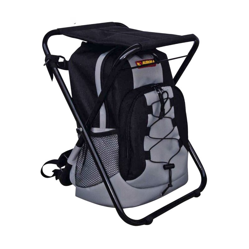 AURORA Outdoor Backpack - Backpack with Stool - Black