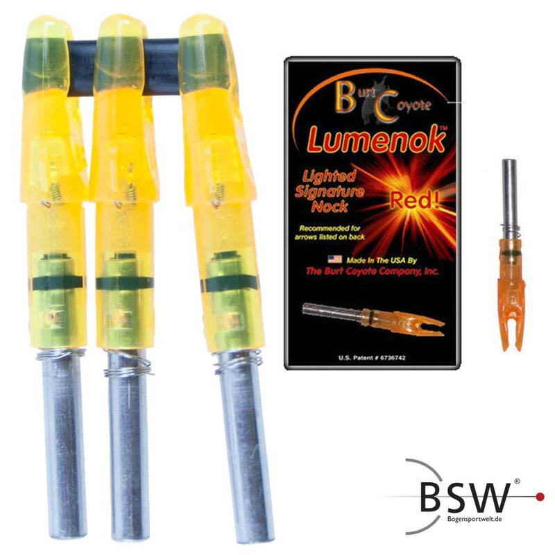 BURT COYOTE Lumenok - orange leuchtende Nocke - 3er Pack