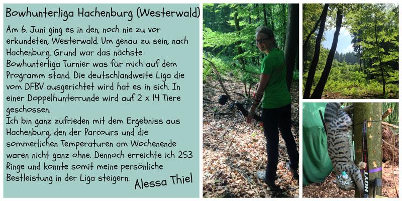 Alessa Thiels Wettkampfbericht zur Bowhunterliga Hachenburg (Westerwald) 2015