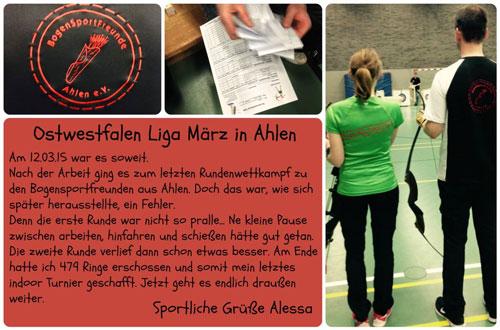 Wettkampfbericht Ahlen Alessa Thiel