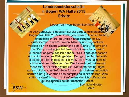 Landesmeisterschaft Halle in Crivitz - Bericht von Ionut Paulet