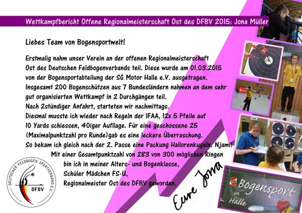Wettkampfbericht: Offene Regionalmeisterschaft Ost des DFBV 2015