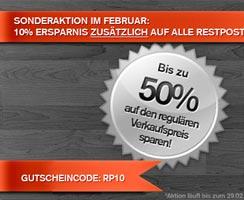 10% Extrarabatt auf alle Restposten im Februar
