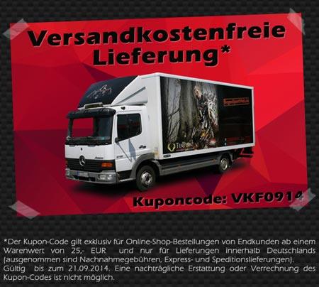 Versandkostenfreie Lieferung innerhalb Deutschlands Heute habe ich eine kleine Sonderaktion für euch: Bestellt noch bis Sonntag den 21.09. mit dem Kuponcode VKF0914 und wir übernehmen eure Versandkosten. Schaut jetzt bei uns im Shop vorbei und nutzt den Kuponcode für eine versandkostenfreie Lieferung!
