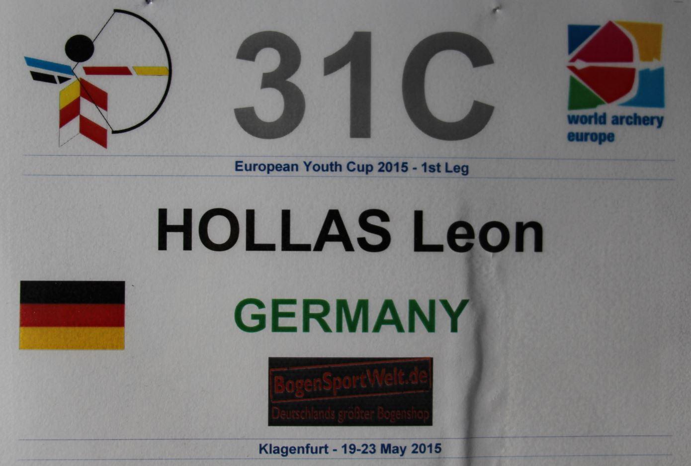 Leon Hollas beim 1st European Youth Cup 2015 in Klagenfurt, Österreich
