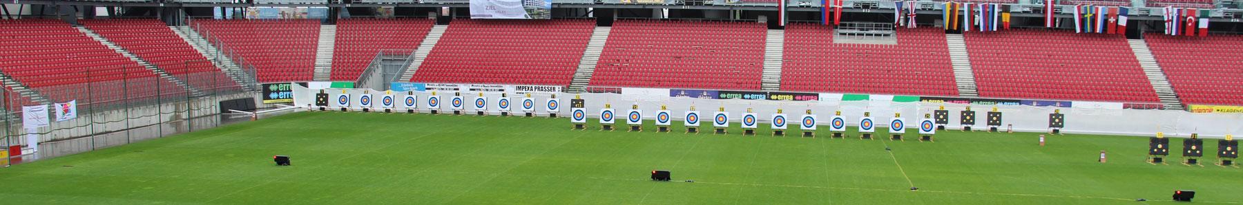 Das Stadion mit Zielscheiben beim 1st European Youth Cup 2015 in Klagenfurt, Österreich