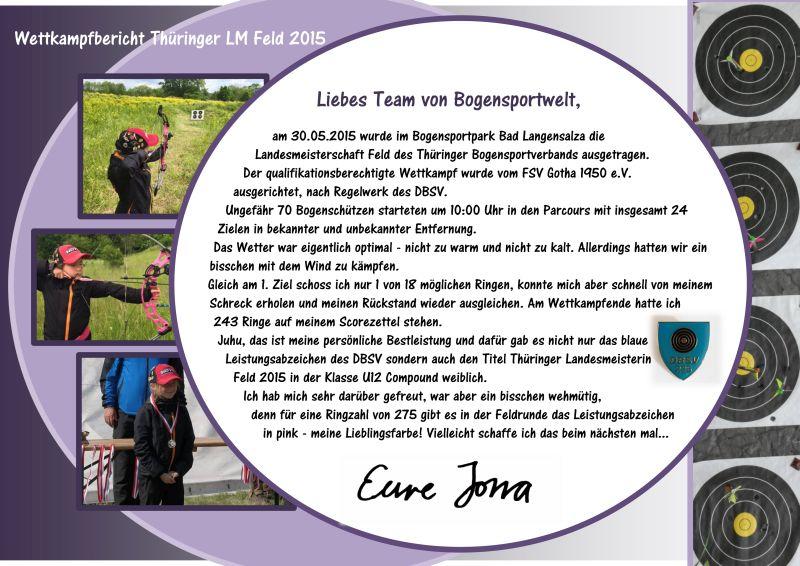 Wettkampfbericht von Compoundschützin Jona Sophie Müller zur Landesmeisterschaft Feld des Thüringer Bogensportverbandes 2015