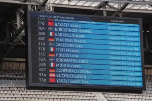 Startnummer von Compoundschütze Leon Hollas auf der Anzeigetafel beim European Youth Cup in Klagenfurt 2015