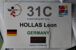 Startnummer von Compoundschütze Leon Hollas beim European Youth Cup in Klagenfurt 2015