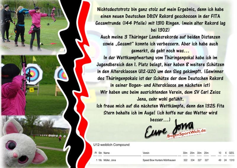 Jona Sophie Müller erzielt neuen deutschen Rekord beim Thüringenpokal