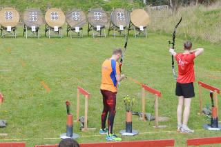 Marco Kreische an der Schießlinie beim 4. Werderaner Bogenlauf