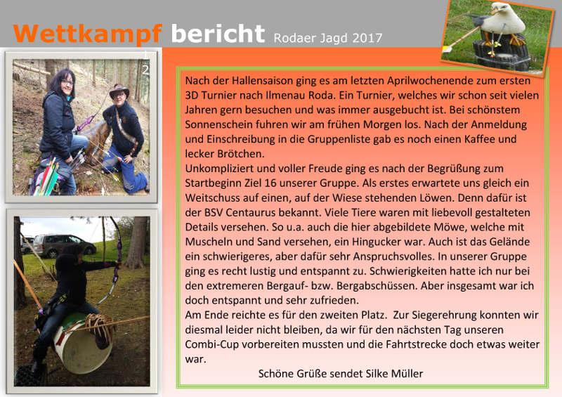 Silke Müllers Wettkampfbericht der Rodaer Jagd 2017