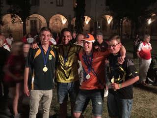 Hannes Hecht mit seinem Gegner aus den Niederlanden, meinem Vereinskameraden Leiv und dessen Freund aus Südafrika
