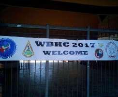 Das Welcome-Schild der WBHC 2017 in Florenz/Chianti beim Bowcheck am Hippodrom