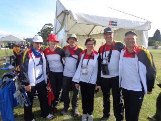 Die deutsche Truppe bei den World Master Games in Auckland, Neuseeland