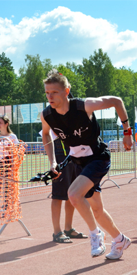 Bogenläufer Marco Kreische für die BogenSportWelt.de am Start in Kaluga, Russland