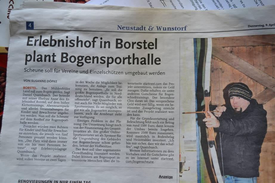 Zeitungsbericht zum Erlebnishof in Borstel in der Hannoverschen Allgemeinen Zeitung