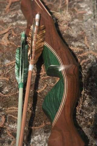 Der Malachite, hier mit den Holzpfeilen Elements - ein ultramoderner Bogen im traditionellen Gewand