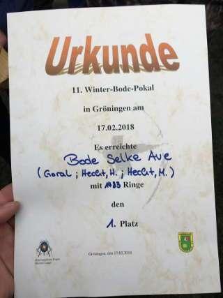 Martens Einsatz wurde mit einer Mannschafts-Urkunde für das Team Bode Selke Aue belohnt