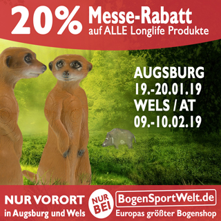 In Augsburg und Wels erhaltet ihr dieses Jahr 20% Rabatt auf alle Longlife 3D Targets